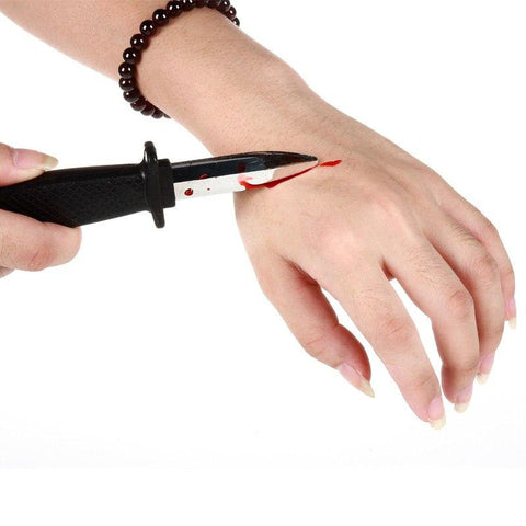 Novelty - Plastic Blood Knife Shock Toys Props Bayonet Belt Knife Toy Gags Practical Jokes GYH