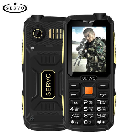 Phones - Quad Sim Original SERVO V3 Mobile Phone Dustproof Shockproof 2.4'' Phone 4 SIM Cards 4 Standby GPRS Russian Language Keyboard