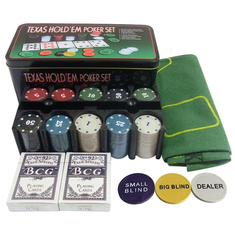 Poker Chips Set - 200pcs Poker Chips, Table Cloth, Dealer Blinds, and Playing cards