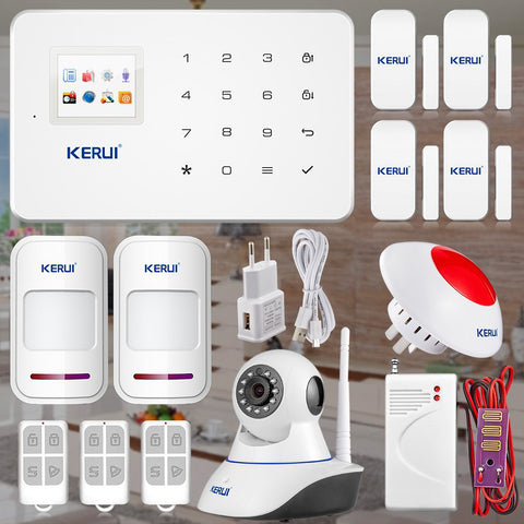 Security - Kerui G18 Wireless Android ISO App GSM Text Home Alarm System Smart IP Security Camera With PIR Sensor Door Gap Smoke Detector