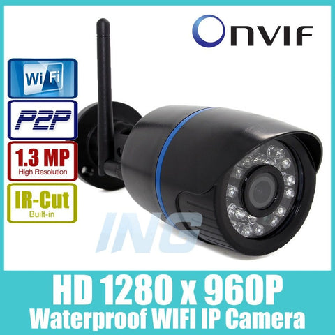 Security - WIFI 1280 X 960P 1.3MP Bullet IP Camera Waterproof 24LED IR Night Vision Outdoor Security Camera ONVIF P2P CCTV Cam With IR-Cut