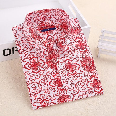 Shirts - Intricate Red Patterned Shirt
