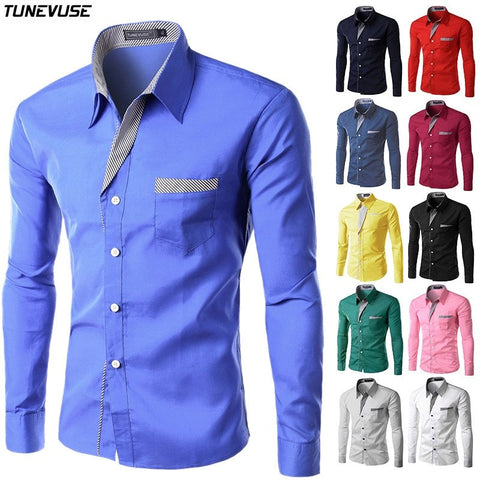 Shirts - Long Sleeve Slim Collared Shirt