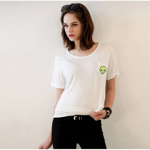 Shirts - Thin Green Alien Pocket T-Shirt
