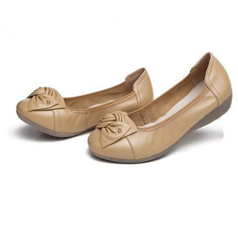 Sunday Gold - Genuine Leather Brown Ballet Flats