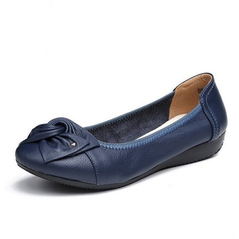 Sunday Gold - Genuine Leather Navey Blue Ballet Flats