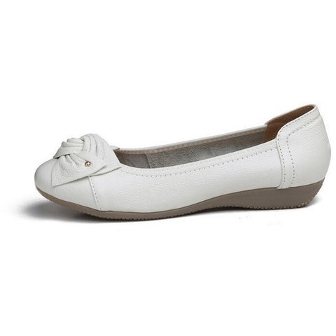 Sunday Gold - Genuine Leather White Ballet Flats
