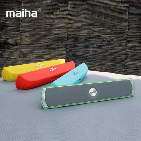 Speakers - Maiha Original Mini Portable Bluetooth Stereo Speaker Good Bass HIFI Sound Speakers TF AUX USB FM Radio Built-in Mic Hands-free