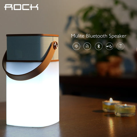 Speakers - ROCK Original Mulite Bluetooth Speaker Super Bass Music Subwoofer Speakers With LED Light TF Card Brand Louspeaker Box