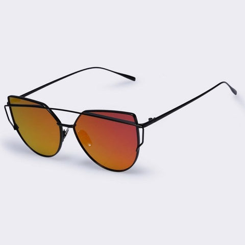 Sunday Gold - Black Frame & Red Mirror Lens Twin-Beams Cat Eye UV400 Sunglasses