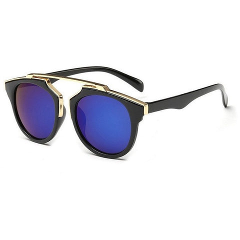 Sunday Gold - Blue Lens Classic Posh Round Sunglasses