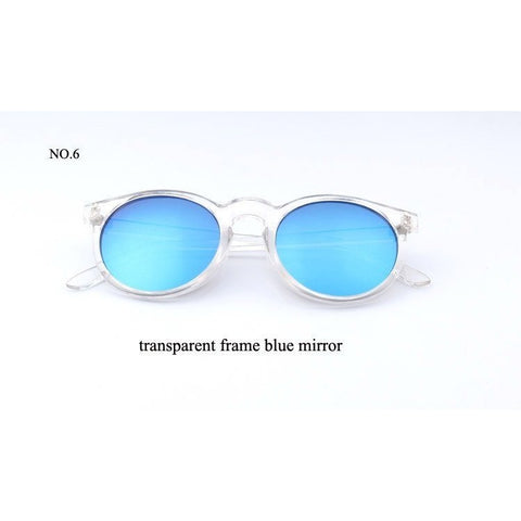 Sunday Gold - Blue Lens Clear Round Sunglasses