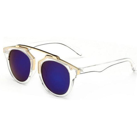 Sunday Gold - Blue Lens Gold Accent Round Sunglasses