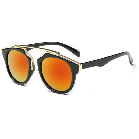 Sunglasses - Orange Lens Classic Posh Round Sunglasses