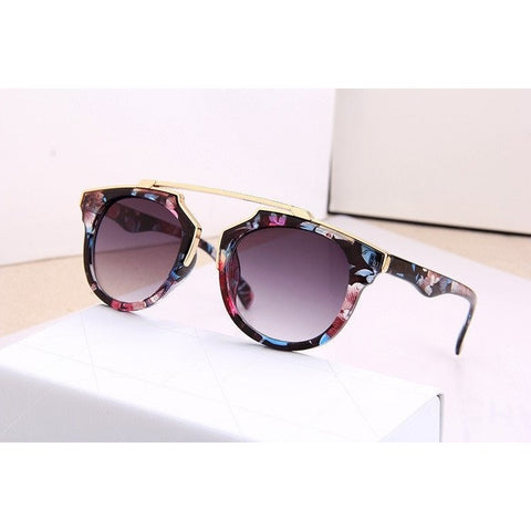 Sunglasses - Party Print Gold Band Fashion Sunglasses