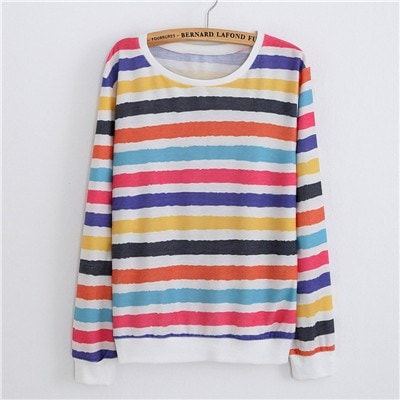 Sweaters - Coloured Stripes Pullover Sweater (One Size)