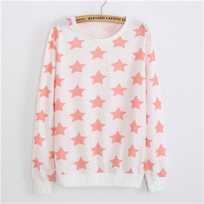 Sweaters - Pink Stars Pullover Sweater (One Size)