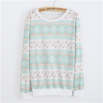 Sweaters - Teal Flowered Pullover Sweater (One Size)