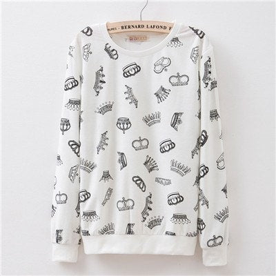 Sweaters - White Crowns Pullover Sweater (One Size)