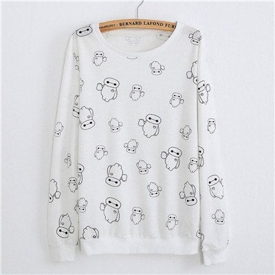 Sweaters - White Robot Pullover Sweater (One Size)