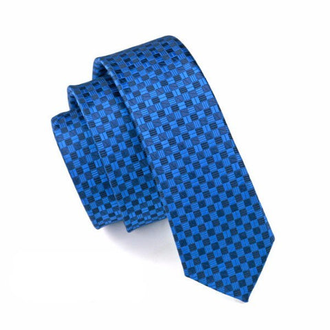 Sunday Gold - Blue Checkered Skinny Tie