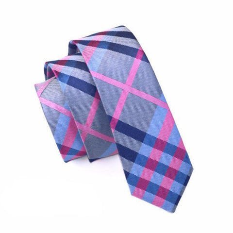 Sunday Gold - Blue & Pink Plaid Skinny Tie