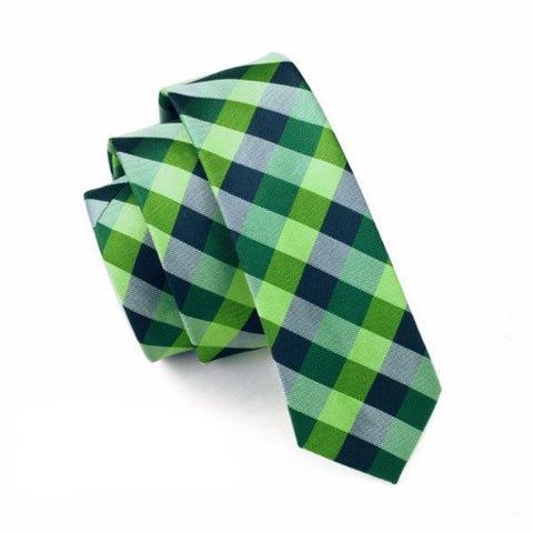Ties - Green Plaid Skinny Tie