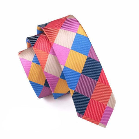 Ties - Rainbow Plaid Skinny Tie