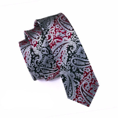 Ties - Red & Black Patterned Skinny Tie