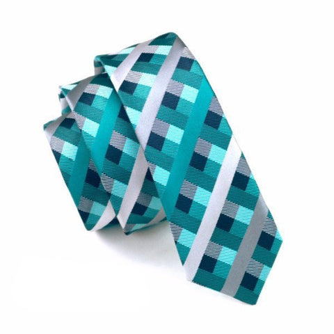 Ties - Teal Plaid Skinny Tie