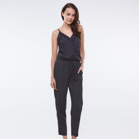 Trousers - Sleeveless Polka Dot Romper