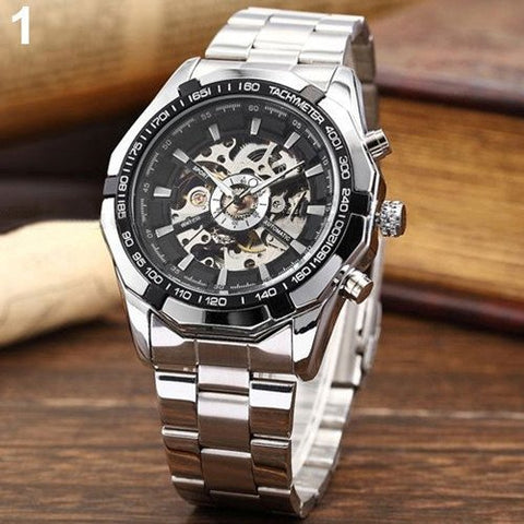 Watches - Stainless Skeleton Mechanical Watch