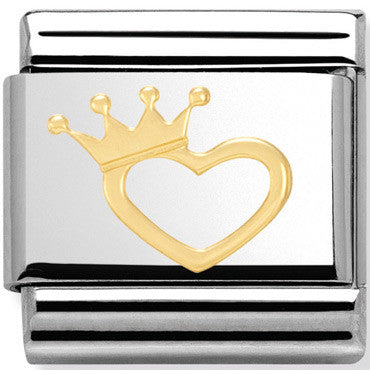 Nomination Charm Gold Heart With Crown