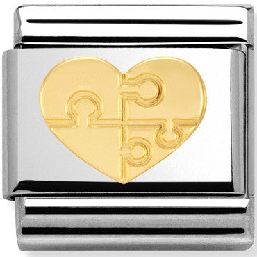 Nomination Charm Gold Jigsaw Heart