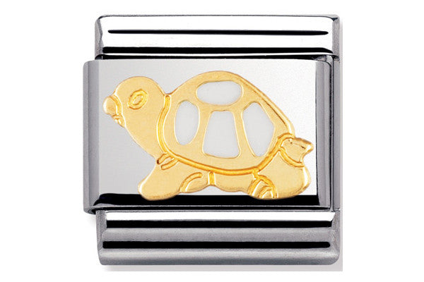 Nomination Charm Enamel White Turtle