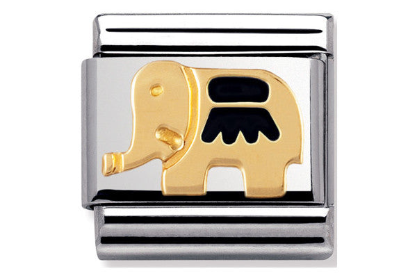 Nomination Charm Enamel Black Elephant