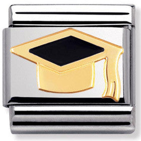 Nomination Charm Enamel Graduation Cap