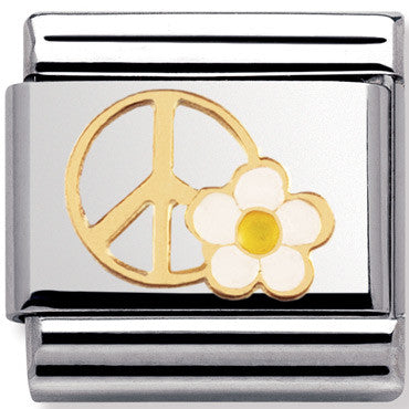 Nomination Charm Peace Sign With Flowers