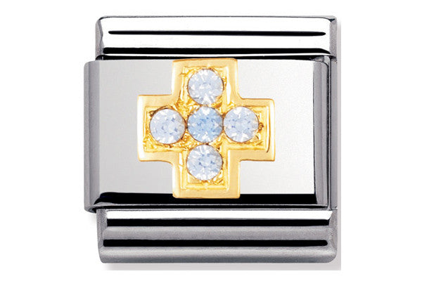 Nomination Charm Light Blue Cross