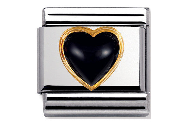 Nomination Charm Black Agate Heart