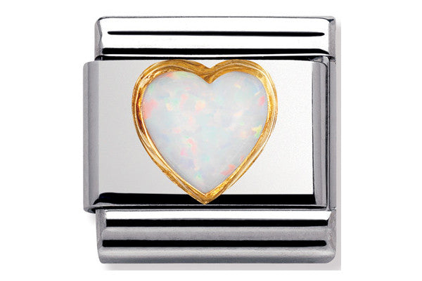 Nomination Charm White Opal Heart
