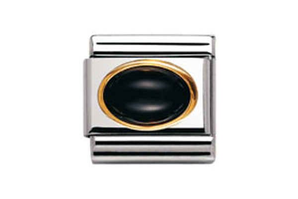 Nomination Charm Oval Black Agate