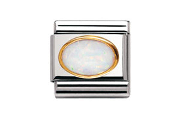 Nomination Charm Oval White Opal