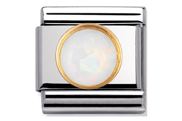 Nomination Charm Round White Opal