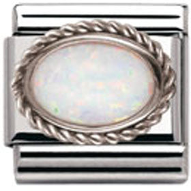 Nomination Charm White Opal