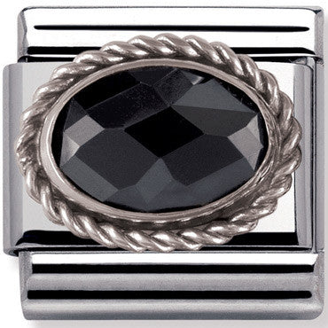 Nomination Charm Black Faceted Silver Twist