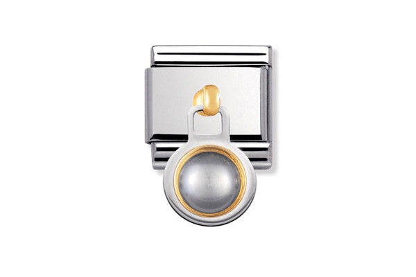Nomination Charm Grey Pearl, 2K Stone Pendant