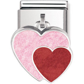 Nomination Charm Hearts Pink And Red