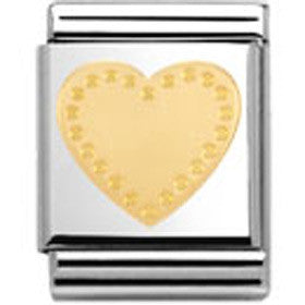 Nomination Gold Heart Charm Big With Gold Handmade Detail