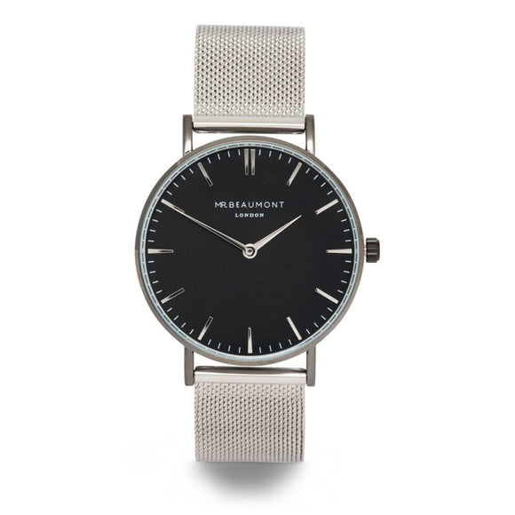 Elie Beaumont Mr Beaumont Mens Silver/Black Mesh Watch